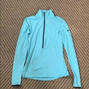 Light blue nike pro dri-fit half-zip